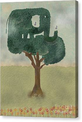 Canvas Print featuring the painting The Elephant Tree by Bri B