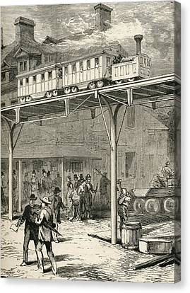 The Elevated Railway, Broadway, New Canvas Print
