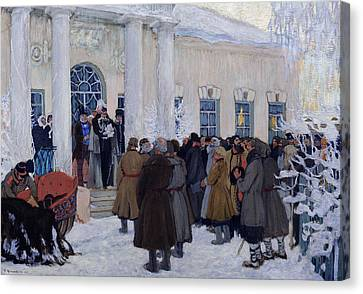 The Emancipation Of Russian Serfs Canvas Print by Boris Mihajlovic Kustodiev