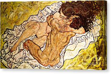 1890 Canvas Print - The Embrace by Egon Schiele