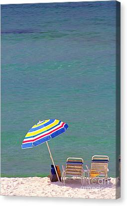 The Emerald Coast With Beach Chairs Canvas Print by Thomas R Fletcher