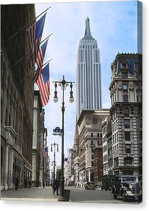 Times Square Canvas Print - The Empire State, 1933 by Deborah J Humphries