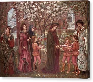 The Enchanted Garden Of Messer Ansaldo Canvas Print by Marie Spartali Stillman
