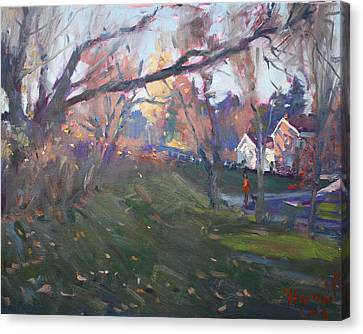 The End Of Autumn Day In Glen Williams On Canvas Print