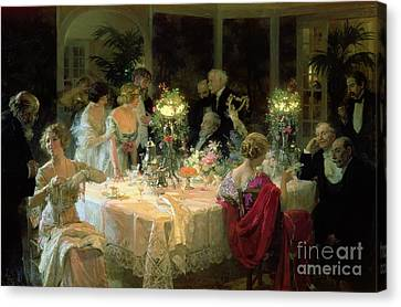 Oil Lamp Canvas Print - The End Of Dinner by Jules Alexandre Grun