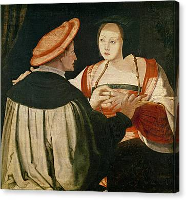 The Engagement Canvas Print by Lucas van Leyden
