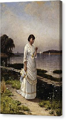 Betrothed Canvas Print - The Engagement Ring by Alfred Thompson Bricher