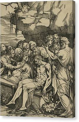 The Entombment Of Christ Canvas Print by Andrea Andreani