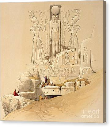 Archaeology Canvas Print - The Entrance To The Great Temple Of Abu Simbel by David Roberts
