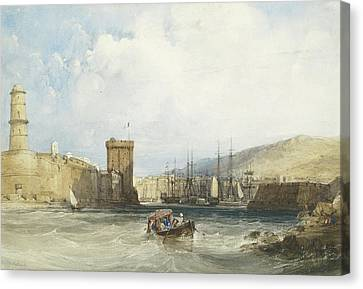 The Entrance To The Harbor Of Marseilles Canvas Print by William Callow