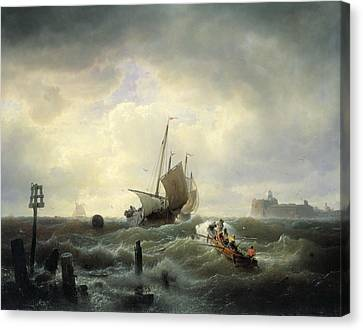 The Entrance To The Harbour At Hellevoetsluys Canvas Print by Andreas Achenbach