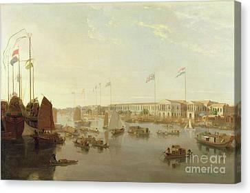 The European Factories - Canton Canvas Print by William Daniell