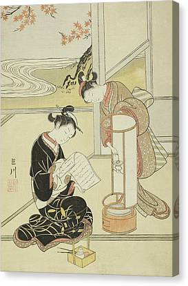 The Evening Glow Of A Lamp Canvas Print by Suzuki Harunobu
