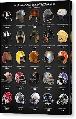 The Evolution Of The Nfl Helmet Canvas Print by Taylan Apukovska
