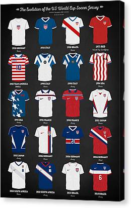 Canvas Print featuring the digital art The Evolution Of The Us World Cup Soccer Jersey by Taylan Apukovska