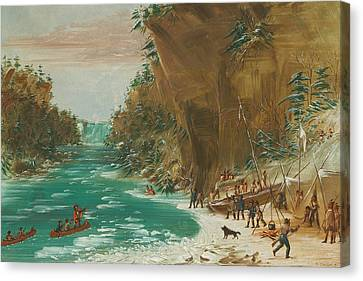 The Expedition Encamped Below The Falls Of Niagara Canvas Print