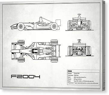 The F2004 Gp Blueprint - White Canvas Print by Mark Rogan