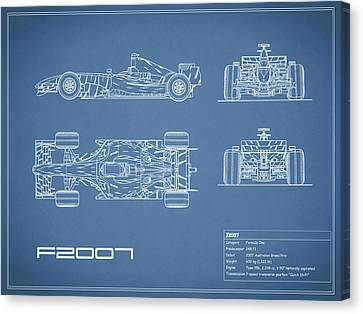 The F2007 Gp Blueprint Canvas Print by Mark Rogan