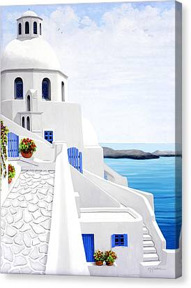 The Face Of Santorini, Prints From Oil Painting Canvas Print by Mary Grden's Baywood Gallery
