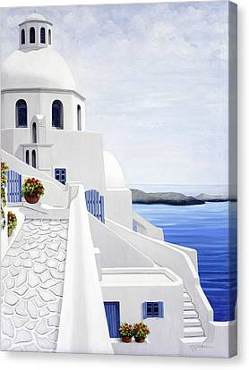 The Face Of Santorini - Prints Of Original Oil Painting Canvas Print by Mary Grden Fine Art Oil Painter Baywood Gallery