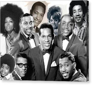 The Faces Of Motown Canvas Print by Peter Nowell