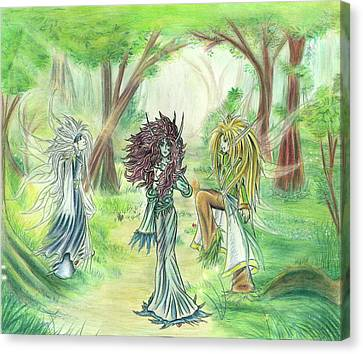 Canvas Print featuring the painting The Fae - Sylvan Creatures Of The Forest by Shawn Dall