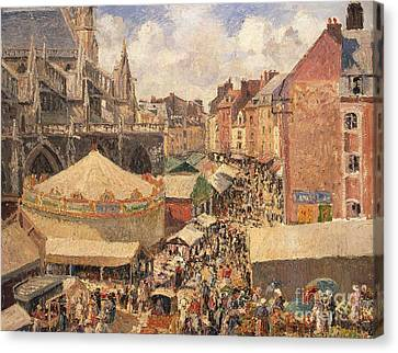 The Fair In Dieppe Canvas Print by Camille Pissarro