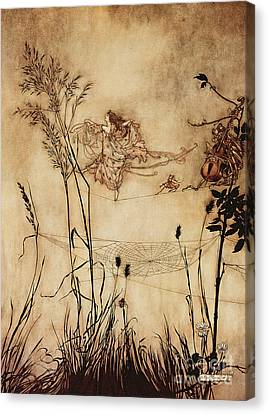 Woman Drawings Drawings Canvas Print - The Fairy's Tightrope From Peter Pan In Kensington Gardens by Arthur Rackham