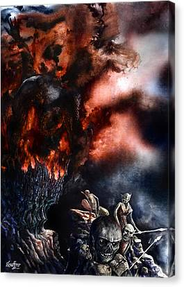 Canvas Print featuring the painting The Fall Of Azturath by Curtiss Shaffer