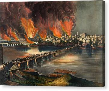 The Fall Of Richmond On The Night Of April 2nd 1865 Canvas Print by Mountain Dreams