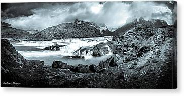 The Falls In Black And White Canvas Print by Andrew Matwijec