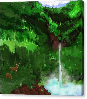 The Falls With Deer Canvas Print