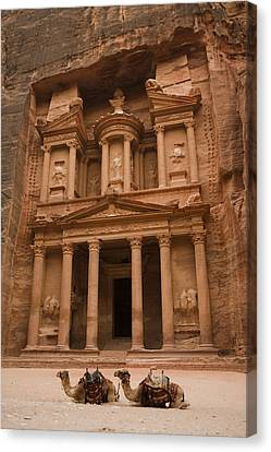 The Famous Treasury With Two Camels Canvas Print by Taylor S. Kennedy