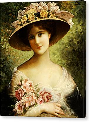 Hat Canvas Print - The Fancy Bonnet by Emile Vernon