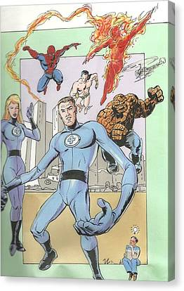 The Fantastic Four And Vic Canvas Print by Vic Carrabotta