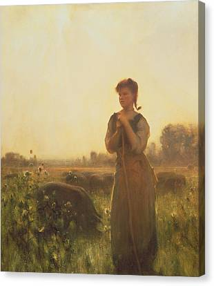 The Farm Girl Canvas Print by Arthur Hacker
