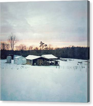 The Farm In Snow At Sunset Canvas Print