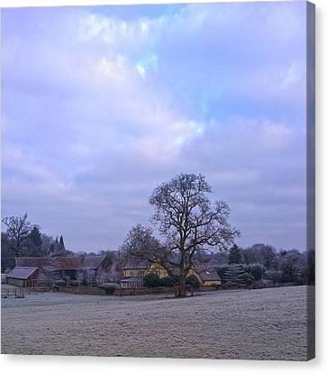 The Farm In Winter Canvas Print by Anne Kotan