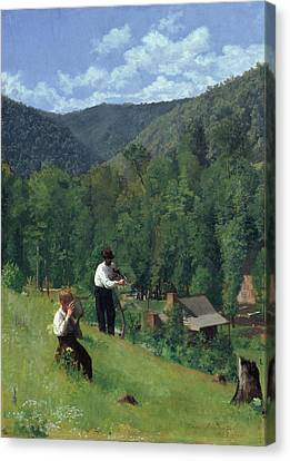 The Farmer And His Son At Harvesting Canvas Print