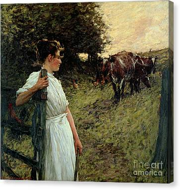 Gate Canvas Print - The Farmer's Daughter by Henry Herbert La Thangue