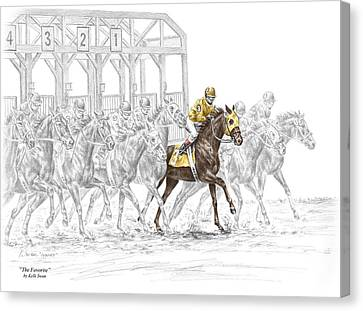 The Favorite - Thoroughbred Race Print Color Tinted Canvas Print