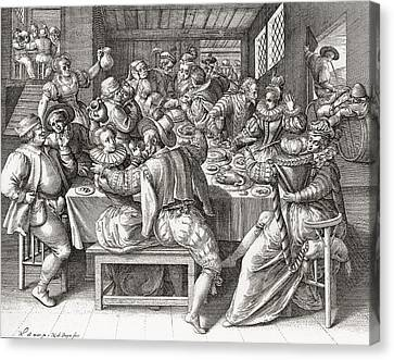 The Feast, After A 17th Century Canvas Print by Vintage Design Pics