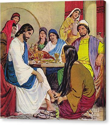 Hair-washing Canvas Print - The Feet Of Jesus Anointed In The House Of A Pharisee By A Woman Of Faith by Clive Uptton