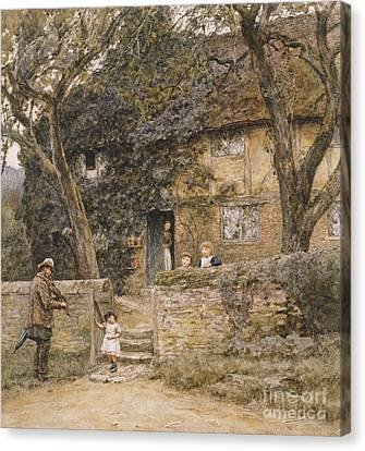 The Fiddler Canvas Print by Helen Allingham