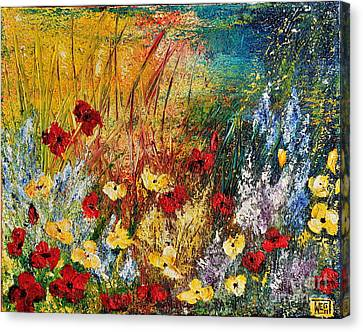 Canvas Print featuring the painting The Field by Teresa Wegrzyn