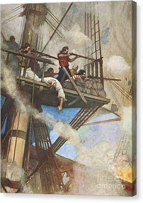 The Fight In The Fire-tops Against An English Ship Canvas Print by Newell Convers Wyeth