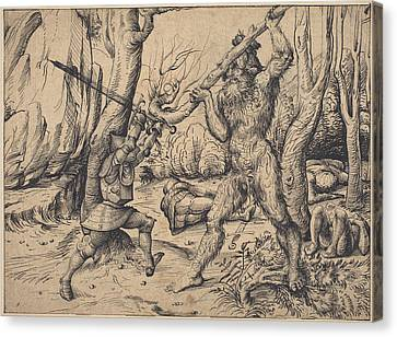 David And Goliath Canvas Print - The Fight In The Forest by Hans Burgkmair I