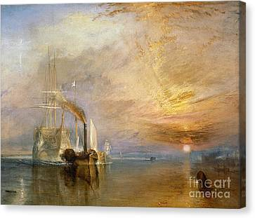 The Fighting Temeraire Tugged To Her Last Berth To Be Broken Up Canvas Print by Joseph Mallord William Turner