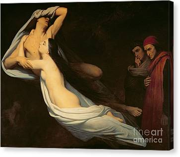 The Figures Of Francesca Da Rimini And Paolo Da Verrucchio Appear To Dante And Virgil Canvas Print by Ary Scheffer