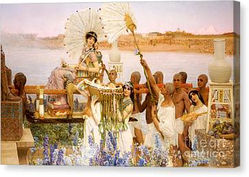 Ladies In Waiting Canvas Print - The Finding Of Moses by Sir Lawrence Alma Tadema